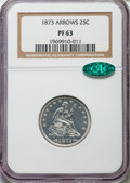 Proof Seated Quarters, 1873 25C Arrows PR63 NGC. CAC. Briggs 5-D....