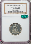 Proof Seated Quarters, 1873 25C No Arrows PR63 Cameo NGC. CAC. Briggs 1-A....