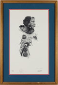 Explorers:Space Exploration, Neil Armstrong Signed Limited Edition Paul Calle Print, #940/1000,in Framed Display....