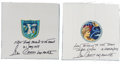 Autographs:Celebrities, Gene Cernan Signed Pair of Beta Cloth Mission Insignias, Apollo 10and Apollo 17. ...
