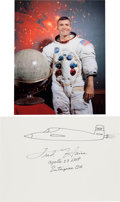 Autographs:Celebrities, Fred Haise Signed Airplane Drawing with White Spacesuit Color Photo. ...
