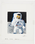 "Explorers:Space Exploration, Chris Calle Original ""Apollo 12"" Painting of Alan Bean on the Moon...."