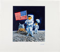 "Explorers:Space Exploration, Chris Calle Original ""25th Anniversary of the First Man on theMoon"" Painting...."