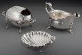 Silver Holloware, British:Holloware, Three Silver-Plated Table Articles: Nut Dish, Gravy Boat, SpoonWarmer, first half 20th century. Marks to gravy boat: GOLD...(Total: 3 Items)