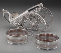 Silver Holloware, Continental:Holloware, A Silver-Plated Wine Bottle Carriage and Two Bottle Coasters, 20thcentury. 7-3/4 h x 12 w x 5-3/8 d inches (19.7 x 30.5 x 1...(Total: 3 Items)