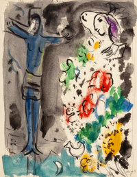 Marc Chagall (1887-1985) Le Christ bleu aux fleurs, circa 1950 Gouache, ink, and pencil on paper