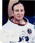 Autographs:Celebrities, Edgar Mitchell Signed Drawing with White Spacesuit Color Photo....