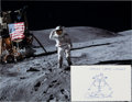 Autographs:Celebrities, Charlie Duke Signed Drawing of the Apollo 16 Lunar ModuleOrion with a Lunar Surface Color Photo. ...