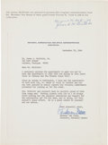 Explorers:Space Exploration, Wernher von Braun Typed Letter Signed to Jim McDivitt's Father, with Typed Note Signed by Mr. & Mrs. McDivitt, Sr. ...