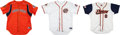 Baseball Collectibles:Uniforms, 2008-09 Gary Carter Game Worn Orange County Flyers Jerseys Lot of 3 from The Gary Carter Collection. ...
