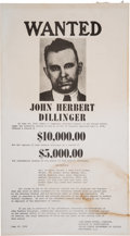 Miscellaneous Collectibles:General, 1934 John Dillinger Wanted Poster....