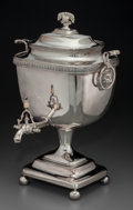 Silver Holloware, British:Holloware, A Large George III-Style Silver-Plated Coffee Urn, 20th century. 18inches high (45.7 cm). The urn in rectangular form, do...
