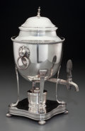 Silver Holloware, British:Holloware, An English George III-Style Silver-Plated Hot Water Urn, 20thcentury. 11-3/4 inches high (29.8 cm). The hot water urn sur...(Total: 2 Items)