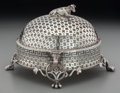 Silver Holloware, Continental:Holloware, A Continental Silver-Plated Butter Dish with Cow Finial, late 19thcentury. 5 inches high x 7-3/4 inches diameter (12.7 x 19...(Total: 2 Items)