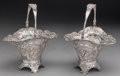Silver Holloware, Continental:Holloware, A Pair of German Silver and Glass-Lined Baskets, circa 1900. Marks:(pseudo French marks). 10 inches (25.4 cm) (basket, hand... (Total:2 Items)