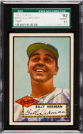 Baseball Cards:Singles (1950-1959), 1952 Topps Billy Herman #394 SGC 92 NM/MT+ 8.5 - Pop One, NoneHigher. ...