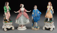 Four Continental Painted and Partial Gilt Porcelain Figures, late 19th-early 20th century Marks: (various) 11-1