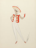 Decorative Prints, European:Prints, Erté (Romain de Tirtoff) (Russian/French, 1892-1990). Group ofFashion Illustrations (seven works). Gouache on paper. 13...(Total: 7 Items)