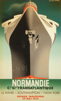 After A.M. Cassandre (French, 1901-1968) Normandie Poster Lithograph in colors 39 x 24-1/2 inches