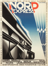 After A.M. Cassandre (French, 1901-1968) Nord Express Poster Lithograph in colors 37-3/4 x 27 inc