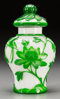Asian:Chinese, A Beijing Green Overlay White Glass Ginger Jar. 9-1/8 inches high(23.2 cm). Beijing green overly glass ginger jar, first ...
