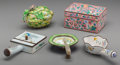 Asian:Chinese, Five Chinese Enameled Copper, Brass, and Jade Table Articles, circa1930. Marks: CHINA. 2-5/8 h x 5-3/8 w x 3-... (Total: 5Items)