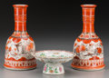 Asian:Japanese, Two Japanese Porcelain Kutani Vases and a Chinese Famille RosePorcelain Compote, 20th century. Marks to vases: (five-charac...(Total: 3 Items)