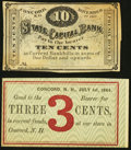 Obsoletes By State:New Hampshire, Concord, NH- Unknown Issuer 3¢ July 1, 1864 Remainder;. Concord, NH- Phenix Hotel at State Capital Bank 10¢ Nov. 1, 1862... (Total: 2 notes)