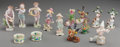 Ceramics & Porcelain, British:Modern  (1900 1949)  , Thirteen Continental Porcelain Figurines and Table Articles, 20thcentury. Marks: (various). 4-3/4 inches highest, 5-3/8 inc...(Total: 13 Items)