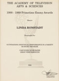 "Music Memorabilia:Awards, Linda Ronstadt -- An Academy of Television Arts & SciencesNomination Certificate for ""Canciones De Mi Padre GreatPerformance..."