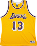 Basketball Collectibles:Uniforms, 1990's Wilt Chamberlain Signed Los Angeles Lakers Jersey....