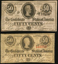 Confederate Notes:1863 Issues, T63 50 Cents 1863. T72 50 Cents 1864.. ... (Total: 2 notes)