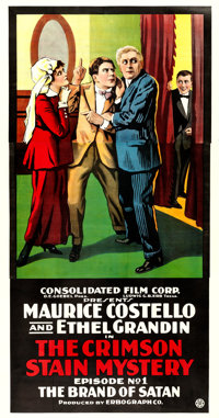 """The Crimson Stain Mystery (Consolidated, 1916). Three Sheet (41"""" X 81"""") Chapter 1 -- """"The Brand of Satan..."""