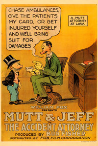 """Mutt and Jeff in The Accident Attorney (Fox, 1918). One Sheet (27"""" X 41"""")"""