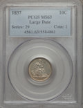 Seated Dimes, 1837 10C No Stars, Large Date, F-101b, R.2, MS63 PCGS....