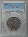 Large Cents, 1820 1C Large Date, N-13, R.1, MS64 Brown PCGS....