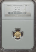 California Fractional Gold , 1853 50C Liberty Round 50 Cents, BG-409, R.3, MS65 NGC....