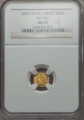 California Fractional Gold , 1868 50C Liberty Octagonal 50 Cents, BG-906, High R.4, MS67 NGC....
