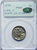 Proof Buffalo Nickels, 1936 5C Type Two -- Brilliant Finish PR65 PCGS. Gold CAC....