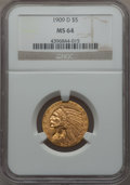 Indian Half Eagles, 1909-D $5 MS64 NGC....