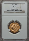 Indian Half Eagles, 1908-D $5 MS63 NGC....