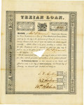 Autographs:Statesmen, First Texian Loan Signed by Stephen F. Austin, Branch T. Archer,and William H. Wharton...