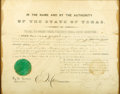 Military & Patriotic:Pre-Civil War, Sam Houston: Signed 1860 Military Appointment of E. M. Daggett, with Doggett-Daggett Family Book and Correspondence Archive.... (Total: 3 Items)
