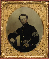 SIXTH PLATE TINTYPE SEATED UNION QUARTERMASTER SERGEANT WITH HOLSTERED REVOLVER ON BELT CA 1860S