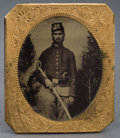 Military & Patriotic:Civil War, SIXTH PLATE TINTYPE UNION SOLDIER WITH SWORD AND PERCUSSION PISTOL CA 1860S....
