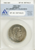 Coins of Hawaii: , 1883 50C Hawaii Half Dollar--Cleaned, Ex-Jewelry--ANACS. XF45 Details. NGC Census: (26/213). PCGS Population (37/322). Mint...