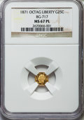 California Fractional Gold , 1871 25C Liberty Octagonal 25 Cents, BG-717, R.3, MS67 ProoflikeNGC....
