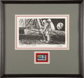 "Explorers:Space Exploration, Paul Calle Signed Limited Edition ""First Man on the Moon"" Print,#978/1000, in Framed Display...."