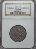 Large Cents, 1824 1C N-3, R.2, AU50 NGC. Ex: Jules Reiver Collection. NGC Census: (2/9). PCGS Population: (0/8). CDN: $180 Whsle. Bid fo...