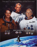 Autographs:Celebrities, Astronaut Scholarship Foundation 2005 U.S. Astronaut Hall of FamePoster Signed by Joe Allen, Bruce McCandless II, and Gordon ...